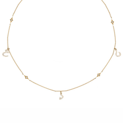 Tiny Treasures Persian - Arabic Triple Initial Necklace