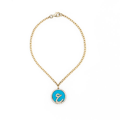 Treasure Disk Perso - Arabic Initial Bracelet With Gemstone