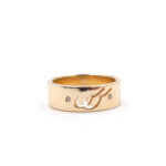 Ladies Matching Double Initial Band with Diamond Accent